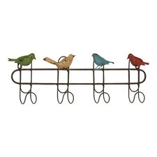Quartet of Colorful Singing Sparrows Metal Wall Hooks