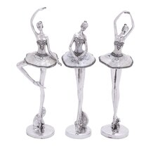 3 Piece Silver Polystone Ballet Dancer Set