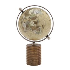 Multi Purpose Globe with Metal Ring and Wooden Stand