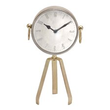 <strong>Woodland Imports</strong> Showpiece Metal Table Clock with Tripod Stand