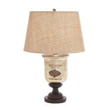 Vintage Trophy Cup Glass and Wooden Table Lamp
