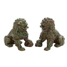 Ceramic Chinese Lion Figurine (Set of 2)