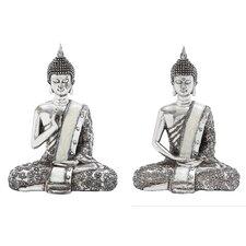 Polystone Spiritual Sitting Buddha Statue (Set of 2)