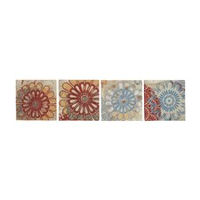 4 Piece Floral Embroidery Canvas Art Set