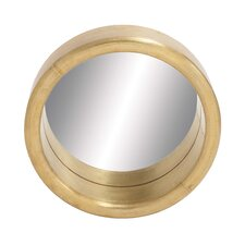 <strong>Woodland Imports</strong> Porthole Shaped Wood and Metal Clad Mirror