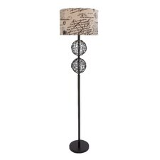 <strong>Woodland Imports</strong> Rattan and Iron Floor Lamp