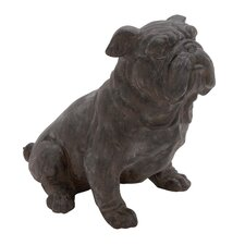Antique Polystone Sitting Bulldog Statue