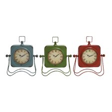<strong>Woodland Imports</strong> Adorable Metal Table Clock (Set of 3)