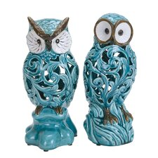 2 Piece Decorative Ceramic Owl Set