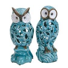 2 Piece Decorative Ceramic Owl Statue Set