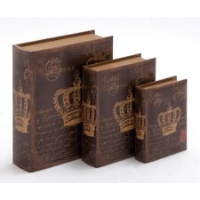 <strong>Woodland Imports</strong> 3 Piece Wooden Book Box Set