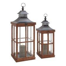 2 Piece Wood and Metal Glass Lantern Set