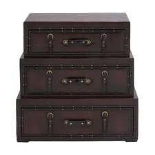 <strong>Woodland Imports</strong> Rich Design and Natural Texture Wooden Leather Trunk