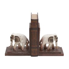<strong>Woodland Imports</strong> Traditionally Sculpted Polystone Elephants Wooden Book Ends (Set of 2)