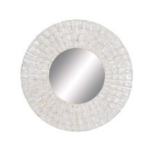 Round Glass Wood Mirror
