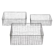 <strong>Woodland Imports</strong> 3 Piece Metal Wire Basket Set