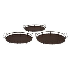 <strong>Woodland Imports</strong> 3 Piece Serving Tray Set