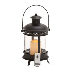 <strong>Woodland Imports</strong> Metal Lantern with Control Remote