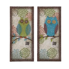 2 Piece Austere Customary Owl Plaque Set