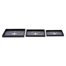 <strong>Woodland Imports</strong> 3 Piece Vintage Serving Tray Set