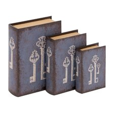 <strong>Woodland Imports</strong> 3 Piece Antique Key Wood and Vinyl Book Set