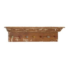 Classy Wooden Shelf  Wall Panel with Colorful Hooks