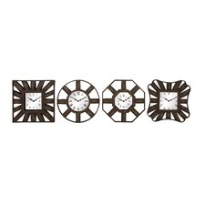 4 Piece Metal Wall Clocks Set
