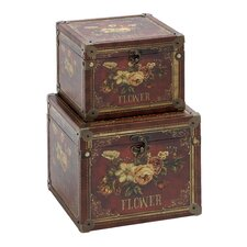 2 Piece Wooden Leather Storage Box Set