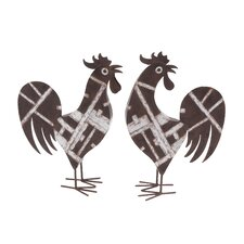 Metal Rooster Décor Statue (Set of 2)