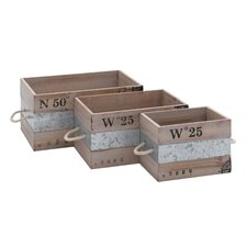 3 Piece Metal and Wood Crates