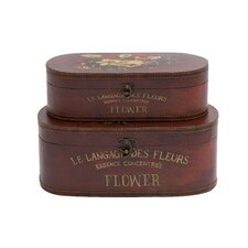 2 Piece Wooden Leather Box Set