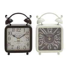 2 Piece Metal Desk Clock Set