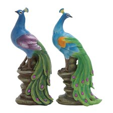 2 Piece Polystone Peacock Statue Set