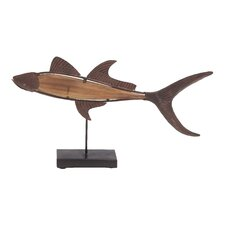 Metal and Wood Fish Statue