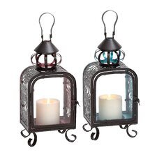 <strong>Woodland Imports</strong> 2 Piece Glass and Metal Lantern Set