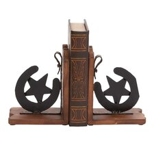 <strong>Woodland Imports</strong> Cowboy Themed Classy Wood and Metal Horse Shoe Book Ends (Set of 2)