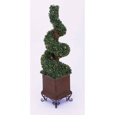<strong>Woodland Imports</strong> Artificial Boxwood Swirl Topiary in Planter