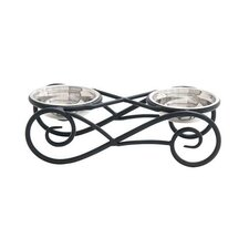 Metal Frame with Steel Bowls Pet Feeder