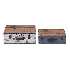 <strong>Woodland Imports</strong> 2 Piece Wooden Storage Box Set