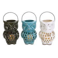 Owl Ceramic Lantern (Set of 3)