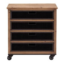 Wood Wire Basket Chest