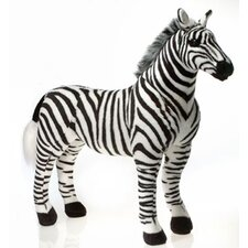 Standing Zebra with Picture Hangtag Stuffed Animal