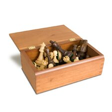 Weighted Wood Chessmen in Wood Box