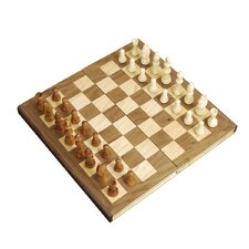 "<strong>Sunnywood</strong> 12"" Wooden Folding Chess Set with Magnetic Closure"