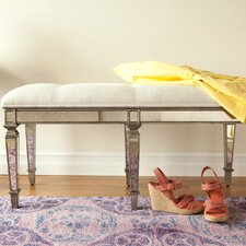 Masterpiece Tufted Cotton Wooden Entryway Bench