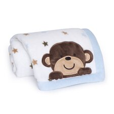 <strong>Kids Line</strong> Monkey Rockstar Embroidered Boa Blanket