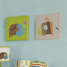 <strong>Zutano</strong> Elephants 2 Piece Canvas Wall Art
