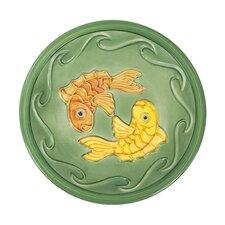 Green Fish Bird Bath Bowl and Stake