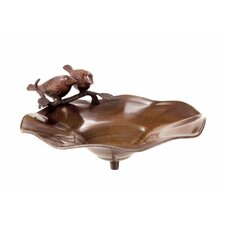 Antiqued Birdbath with Birds
