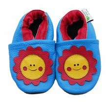 <strong>Augusta Baby</strong> Smiley Flower Soft Sole Leather Baby Shoes